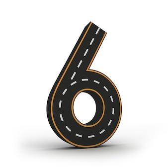 Nummer zes symbolen van de figuren in de vorm van een weg