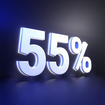Nummerweergave van vijfenvijftig procent