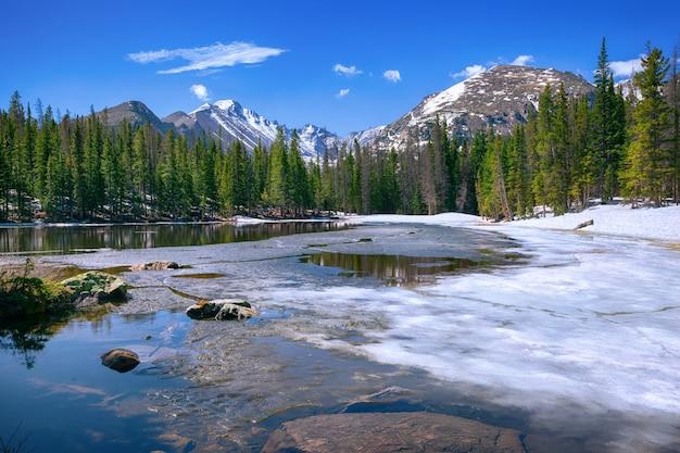 Nymph lake in het rocky mountain national park, colorado, vs.