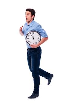 O mijn god! ik ben laat! ik heb maar vijf minuten!