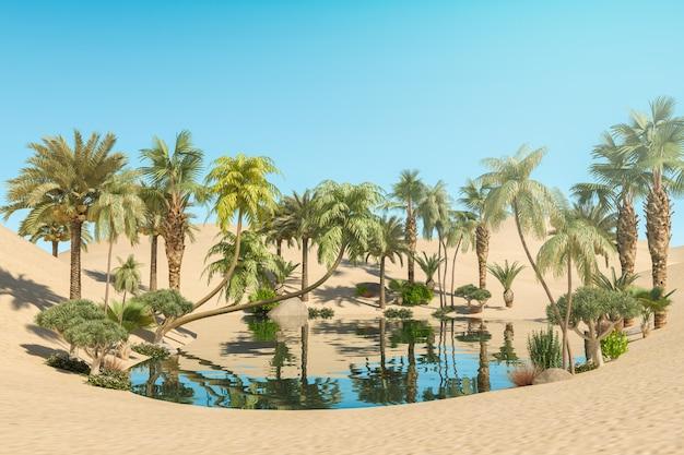 Oase en palmbomen in de woestijn, 3d-rendering
