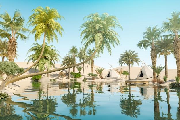 Oase en palmbomen in woestijn en reizigerskampen, 3d-rendering