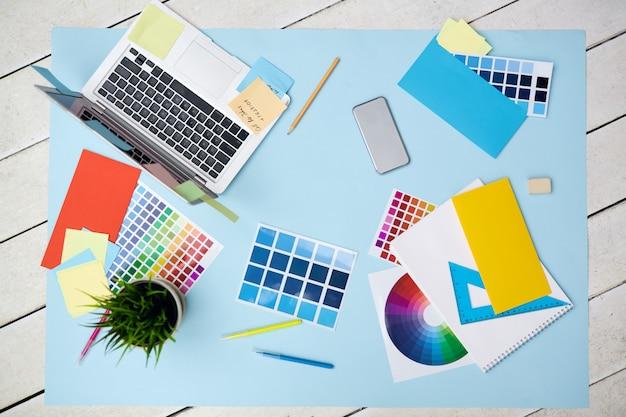 Objecten voor het ontwerpen, plat leggen