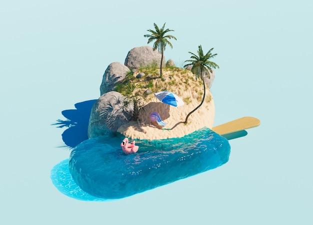 Oceaanvormig ijs en een klein strand met palmbomen en vakantieaccessoires