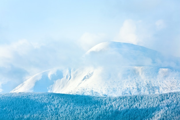 Ochtend bewolkt winter berglandschap. uitzicht vanaf de kukol-berg. (karpaten, oekraïne)