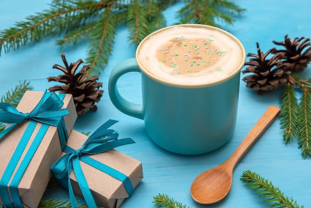 Ochtend koffie. op een mooie kerstdag