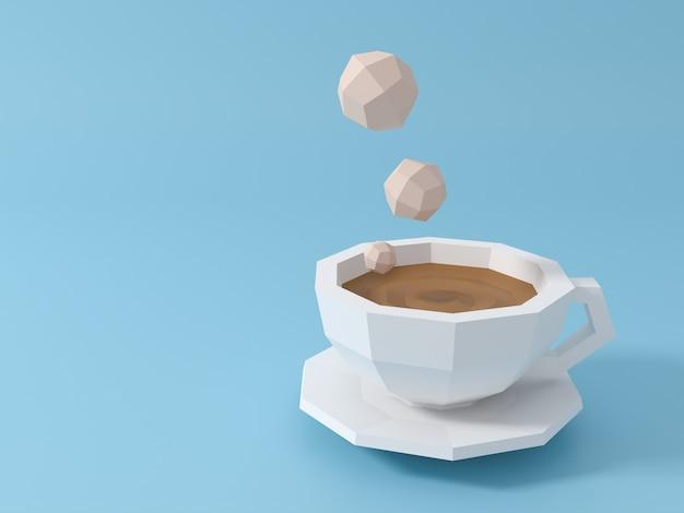 Ochtend koffiemokken rook stijgende pastel lichtblauwe achtergrond. 3d-scène.