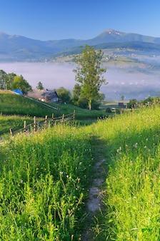 Ochtendlandschap met een pad in het bergdorp