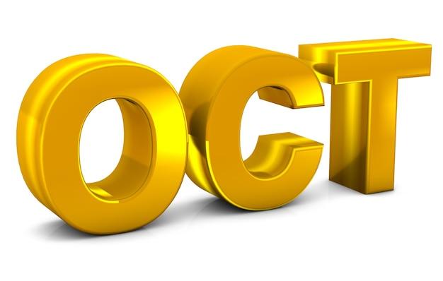 Oct gold 3d-tekst oktober maand afkorting geïsoleerd op witte achtergrond 3d render.
