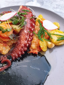 Octopus met groenten met inktvisinkt