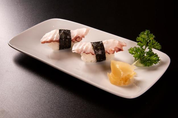 Octopus nigiri sushi