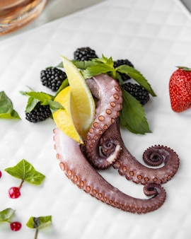 Octopuspoten met citroen, munt en bessen.