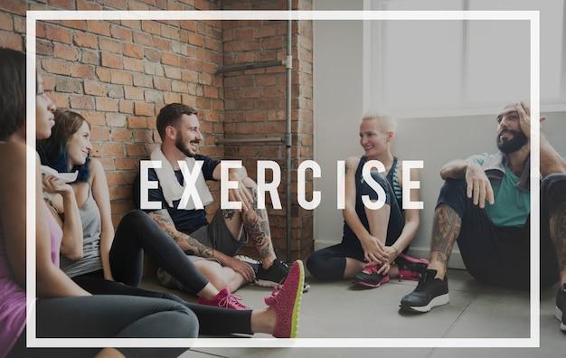 Oefening actief sterk wellness gezondheidszorg woord