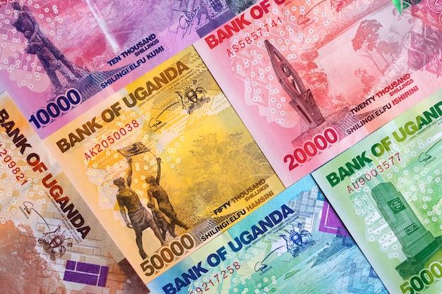 Oegandese shilling, een achtergrond met geld uit oeganda