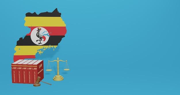 Oegandese wet voor infographics, sociale media-inhoud in 3d-weergave