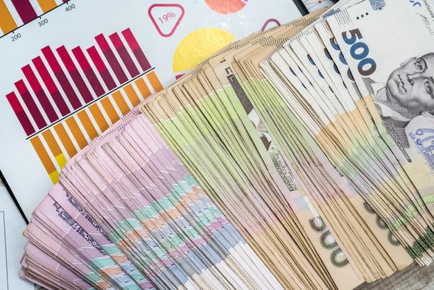 Oekraïens hryvnia-geld ligt op zakelijke grafieken of grafieken op het bureau. bedrijfswinstconcept en geld tellen.