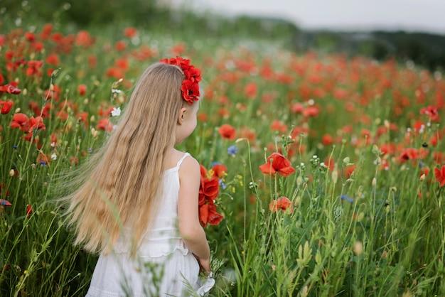 Oekraïens mooi meisje op gebied van papavers en tarwe.