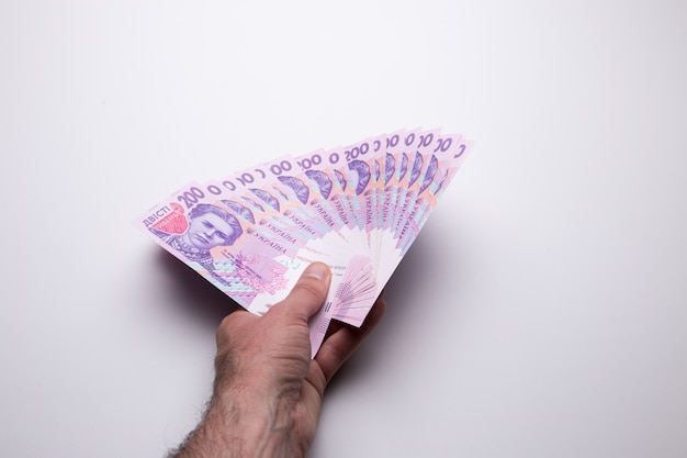 Oekraïens tweehonderdste hryvniabankbiljet. de textuur van de munteenheid van oekraïne.