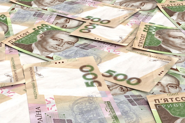 Oekraïense geld hryvnia. 500 denominatie. 3d render