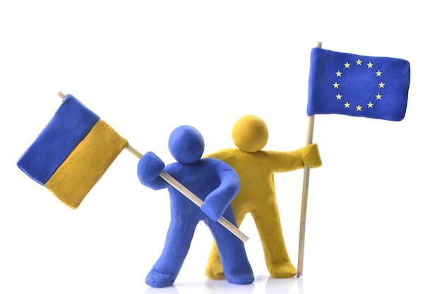 Oekraïense vlag en de vlag van de europese unie
