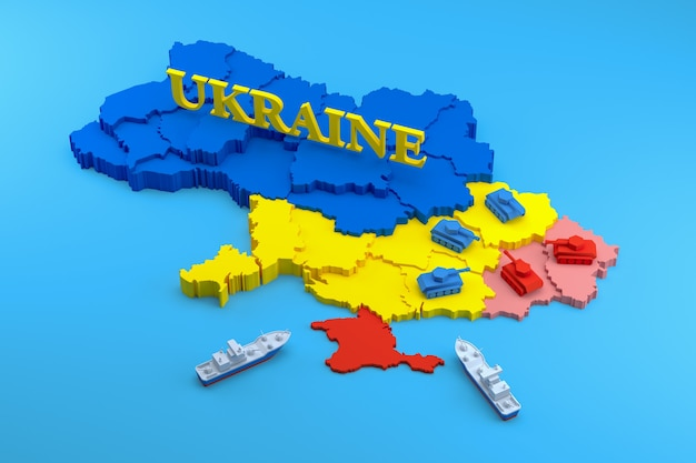 Oekraïne-crisis. 3d-rendering