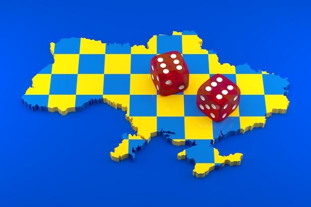Oekraïne gokken van rusland. 3d illustratie.