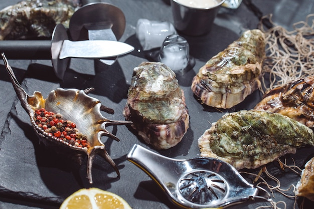 Oesters op stenen plaat met ijs, citroen, visnet, peper en mes.