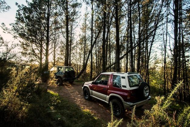 Off-road auto's in de bergen in noord-spanje