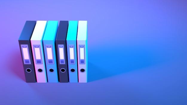 Office-mappen in neonverlichting close-up, 3d illustratie