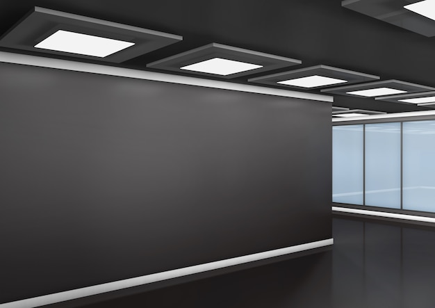Office muur. 3d-weergave.