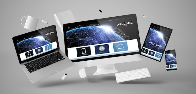 Office-spullen en apparaten die met 3d-rendering van de welkomstpaginawebsite zweven