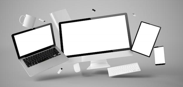 Office spullen en apparaten zweven geïsoleerd