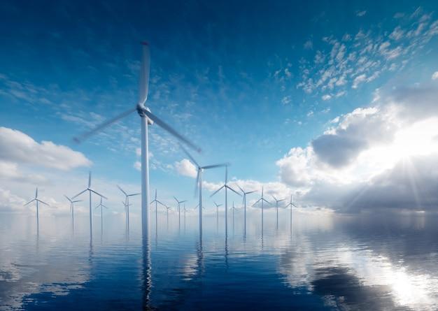 Offshore windenergiecentrales op rustige middag. 3d-rendering.