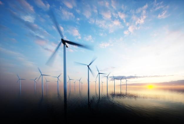 Offshore windpark bij het aanbreken van de dag. 3d-rendering.