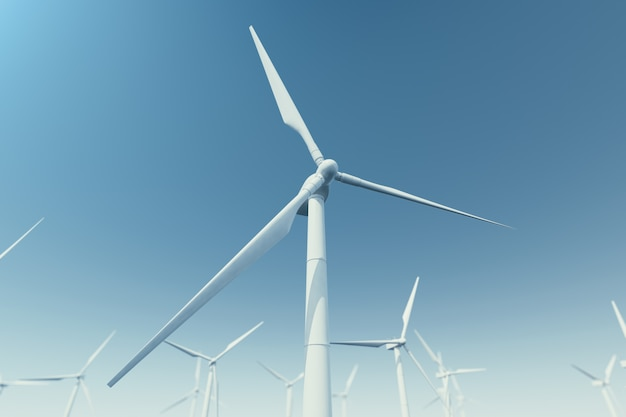 Offshore windturbinepark in de zee, oceaan. schone energie, windenergie, ecologisch concept. 3d-weergave