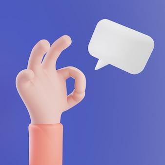 Ok hand met lege bellentoespraak op blauw-paarse achtergrond, 3d teruggevende illustratie