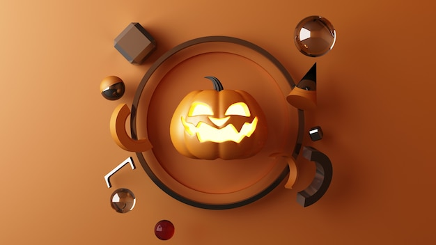 Oktober halloween pompoenen hoofd groeit met geometrische vorm met productstandaard mock-up voor heden op oranje kleur achtergrond 3d-rendering