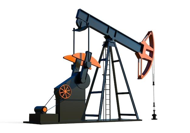 Olie boortoren pomp 3d render aardolie-industrie apparatuur brandstof fabriek olieveld ontwikkeling