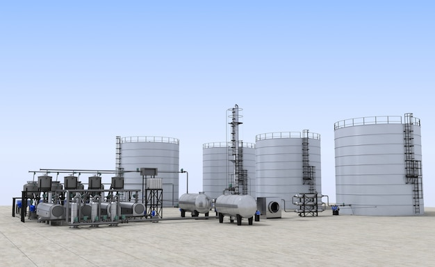 Olieraffinaderij, glasfabriek, exterieurvisualisatie, 3d-afbeelding