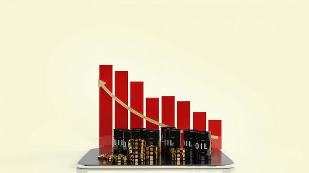 Olietanks op tafel en gouden munten voor aardolie-inhoud