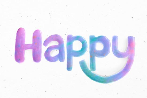Olieverf gelukkig tekst typografie script lettertype