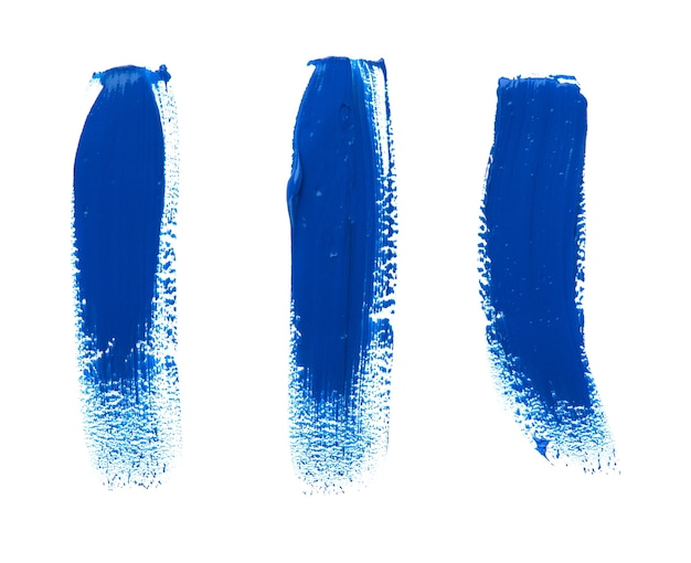 Olieverf plek geïsoleerd op witte ruimte. verzameling van abstracte acryl penseelstreken.