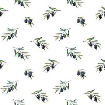 Olijftakken met zwarte olijven aquarel naadloze patroon.