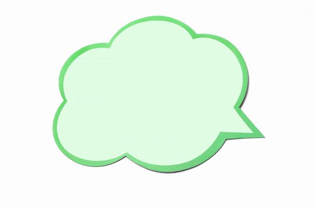 Olive tekstballon als een wolk met groene rand geïsoleerd op een witte achtergrond