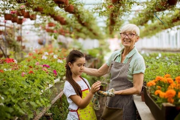 Oma en haar kleinkind genieten in de tuin met bloemen