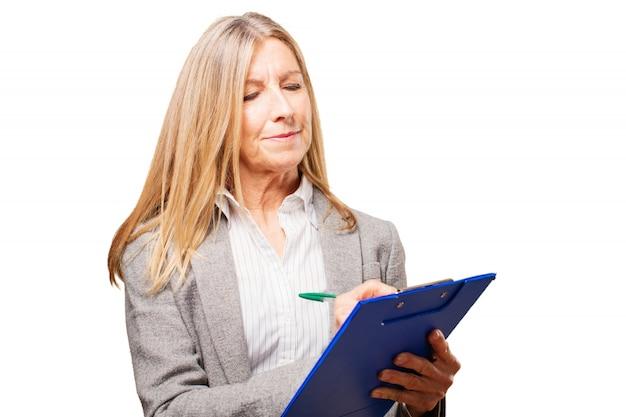 Oma zorgen zakenvrouw informatie woede