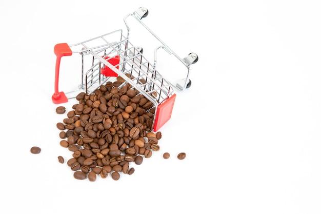 Omgekeerde supermarktkar met koffiebonen