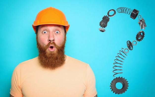 Onbekwame werknemer is onzeker over zijn werk en twijfelt. cyaan muur