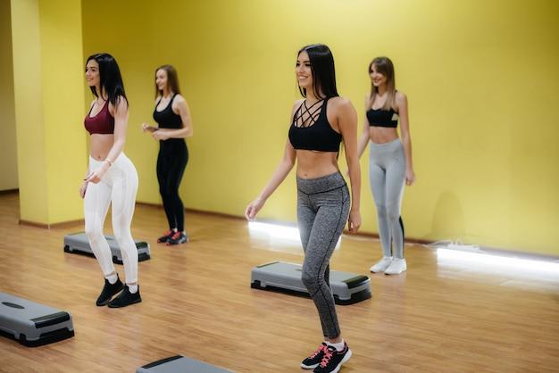 Onder begeleiding van een ervaren coach houdt een groep jonge meisjes zich bezig met fitness. fitness, gezonde levensstijl.