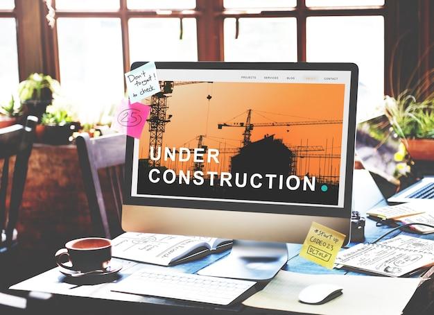 Onder constructie gebouw architectuurconcept